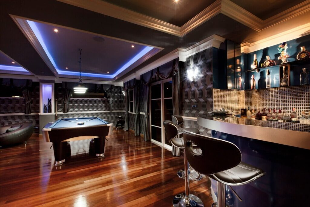 amazing man cave with bar and pool table