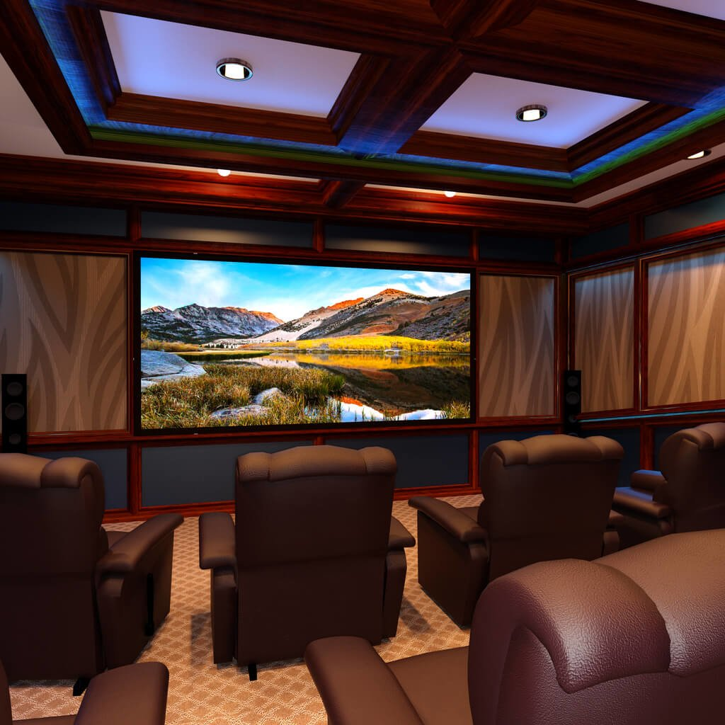 amazing home theatre with seating and large screen